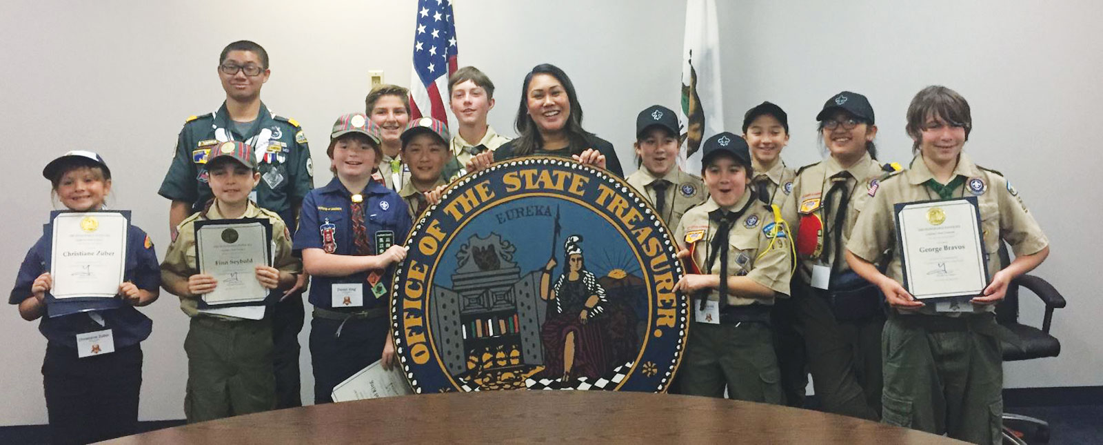 Chief of Staff Genevieve Jopanda with the visiting Piedmont Council Boy Scouts of America.