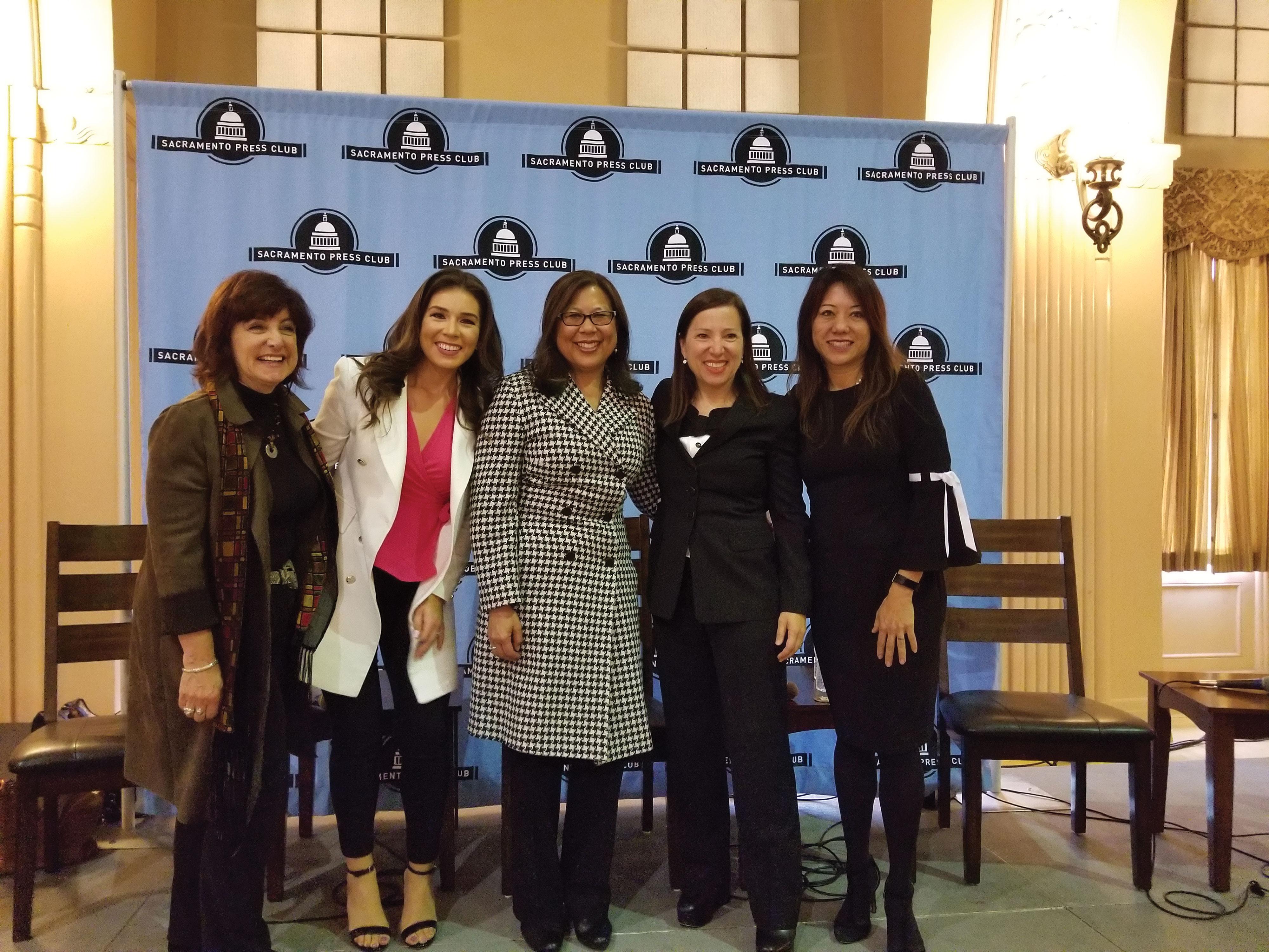 Treasurer Ma with Lieutenant Governor Eleni Kounalakis, State Controller Betty Yee, and journalists Ashley Zavala from KRON and Carla Marinucci of Politico, at a panel discussion on women empowerment presented by the Sacramento Press Club.